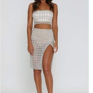 Meshki Daniella Rhinestone Sheer 2 Piece Dress